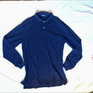 3/$20 Lands End Long Sleeve Blue Polo